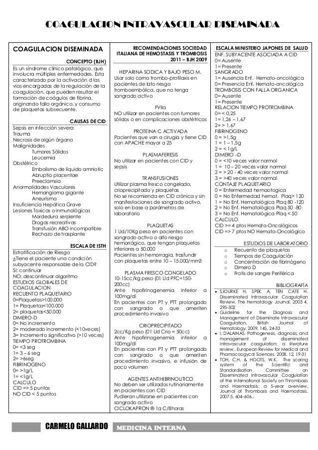 COAGULACION INTRAVASCULAR DISEMINADACARMELO GALLARDO MEDICINA INTERNAMEDICINA INTERNACOAGULACION DISEMINADACONCEPTO (BJH)E...