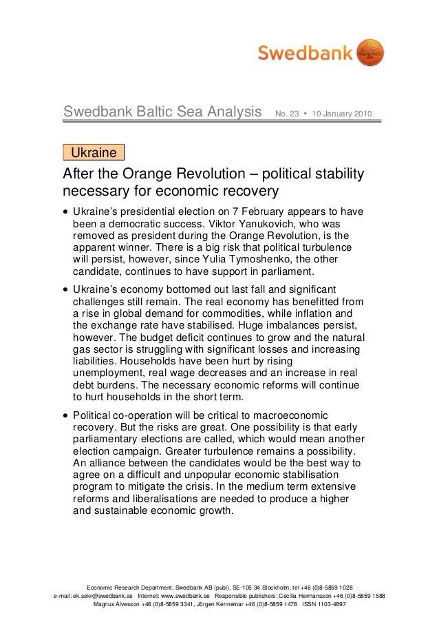 Swedbank Baltic Sea Analysis No. 23 10 January 2010 Economic Research Department, Swedbank AB (publ), SE-105 34 Stockholm,...