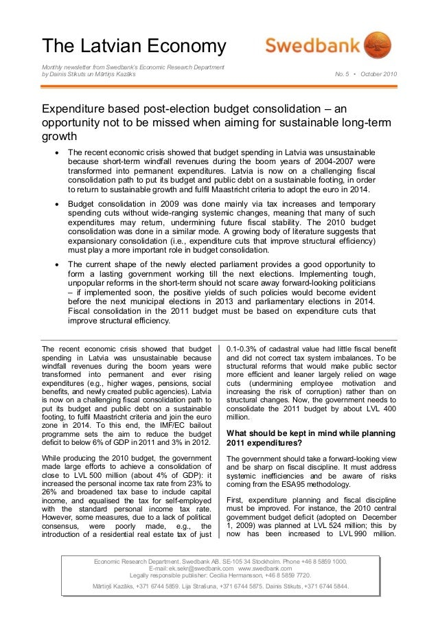 The Latvian Economy Monthly newsletter from Swedbank's Economic Research Department by Dainis Stikuts un Mārtiņs Kazāks No...