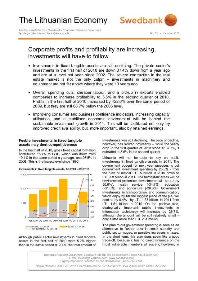 The Lithuanian Economy Monthly newsletter from Swedbank's Economic Research Department by Nerijus Mačiulis and Ieva Vyšnia...