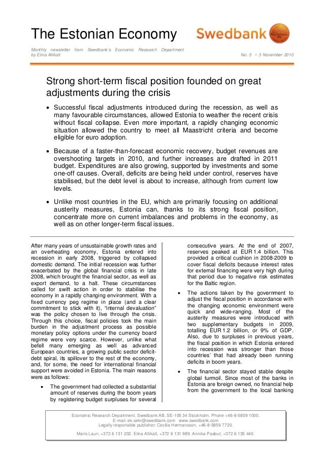 The Estonian Economy Monthly newsletter from Swedbank's Economic Research Department by Elina Allikalt No. 5 • 3 November ...