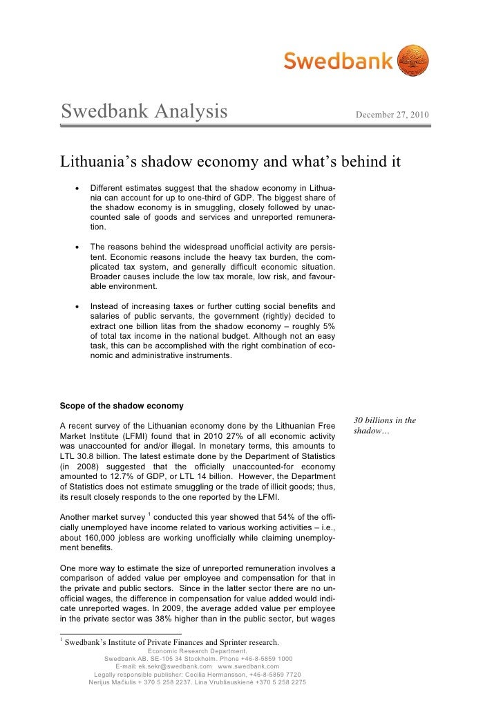 Swedbank Analysis                                                                   December 27, 2010Lithuania's shadow ec...