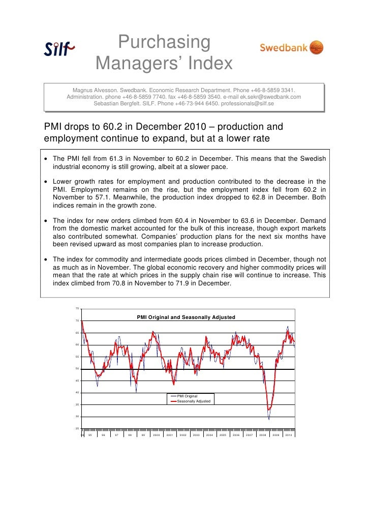 Purchasing                         Managers' Index         Magnus Alvesson. Swedbank. Economic Research Department. Phone ...