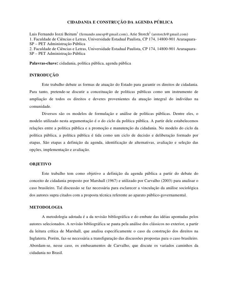 CIDADANIA E CONSTRUÇÃO DA AGENDA PÚBLICA  Luis Fernando Iozzi Beitum1 (fernando.unesp@gmail.com), Arie Storch2 (arstorch@g...