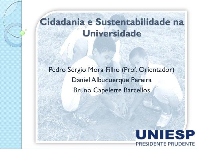 Cidadania e Sustentabilidade na Universidade Pedro Sérgio Mora Filho (Prof. Orientador) Daniel Albuquerque Pereira Bruno C...