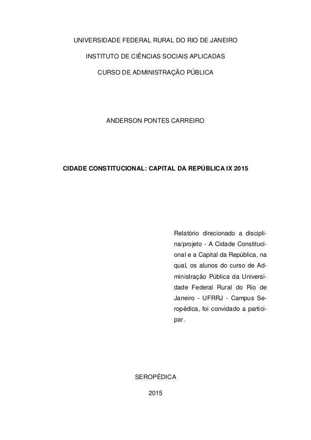 UNIVERSIDADE FEDERAL RURAL DO RIO DE JANEIRO INSTITUTO DE CIÊNCIAS SOCIAIS APLICADAS CURSO DE ADMINISTRAÇÃO PÚBLICA ANDERS...
