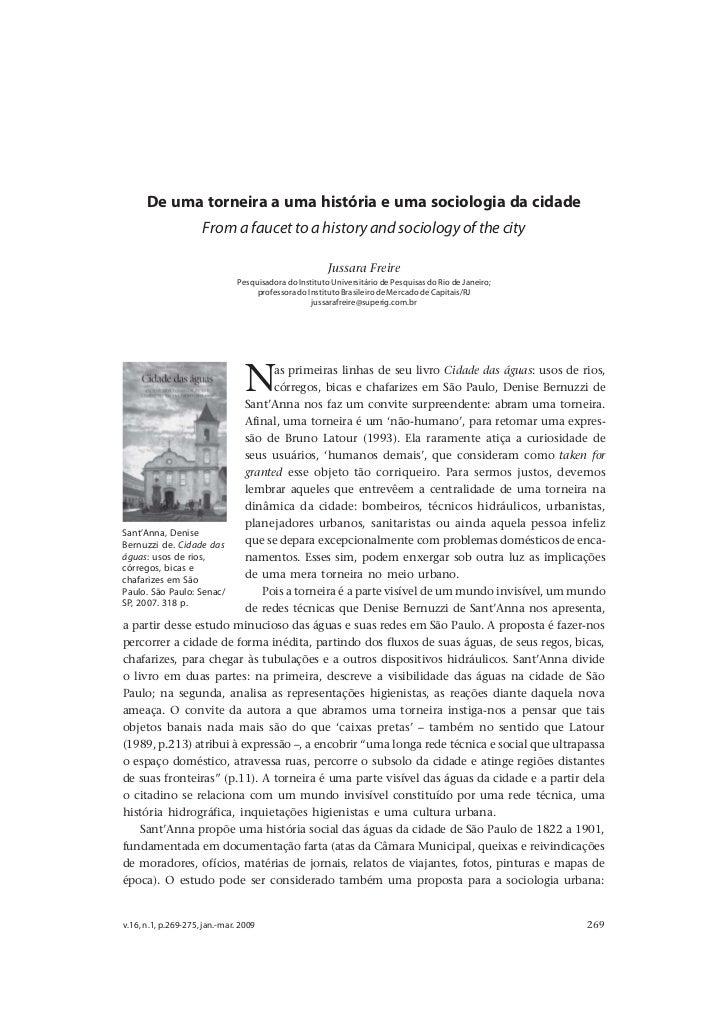 De uma torneira a uma história e uma sociologia da cidade      De uma torneira a uma história e uma sociologia da cidade  ...