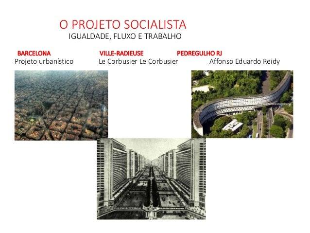 O PROJETO SOCIALISTA IGUALDADE, FLUXO E TRABALHO BARCELONA VILLE-RADIEUSE PEDREGULHO RJ Projeto urbanístico Le Corbusier L...