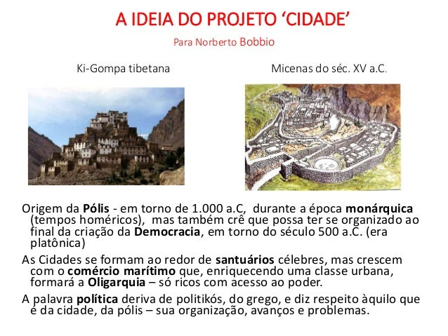 A IDEIA DO PROJETO 'CIDADE' Para Norberto Bobbio Ki-Gompa tibetana Micenas do séc. XV a.C. Origem da Pólis - em torno de 1...