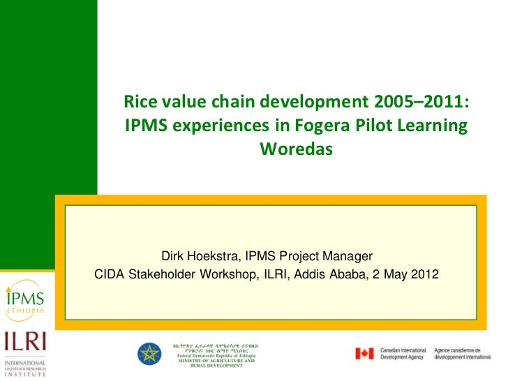 Rice value chain development 2005–2011:    IPMS experiences in Fogera Pilot Learning                     Woredas          ...