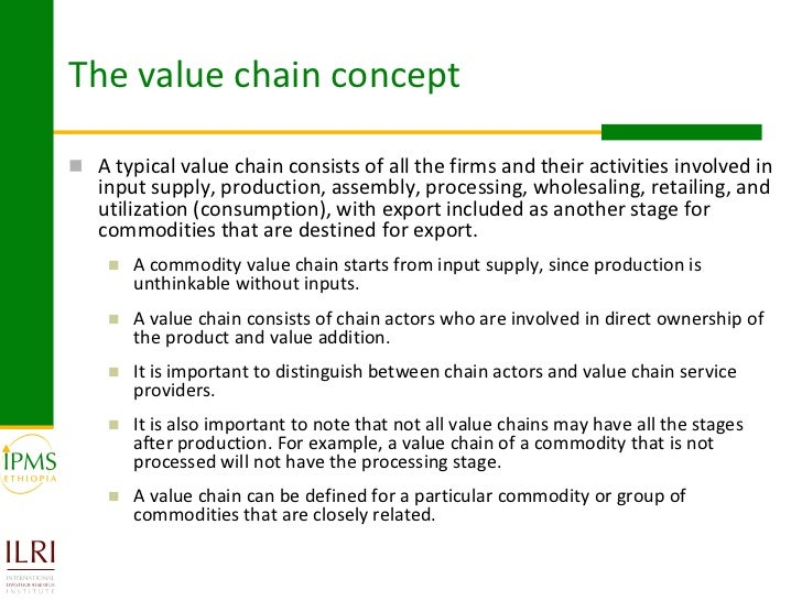 the concept of the value chain Mgmt 300 om chap 2 (value chain) study  the concept of value underlying purpose of every organization is to provide value to its customer and stakeholders 1 value.