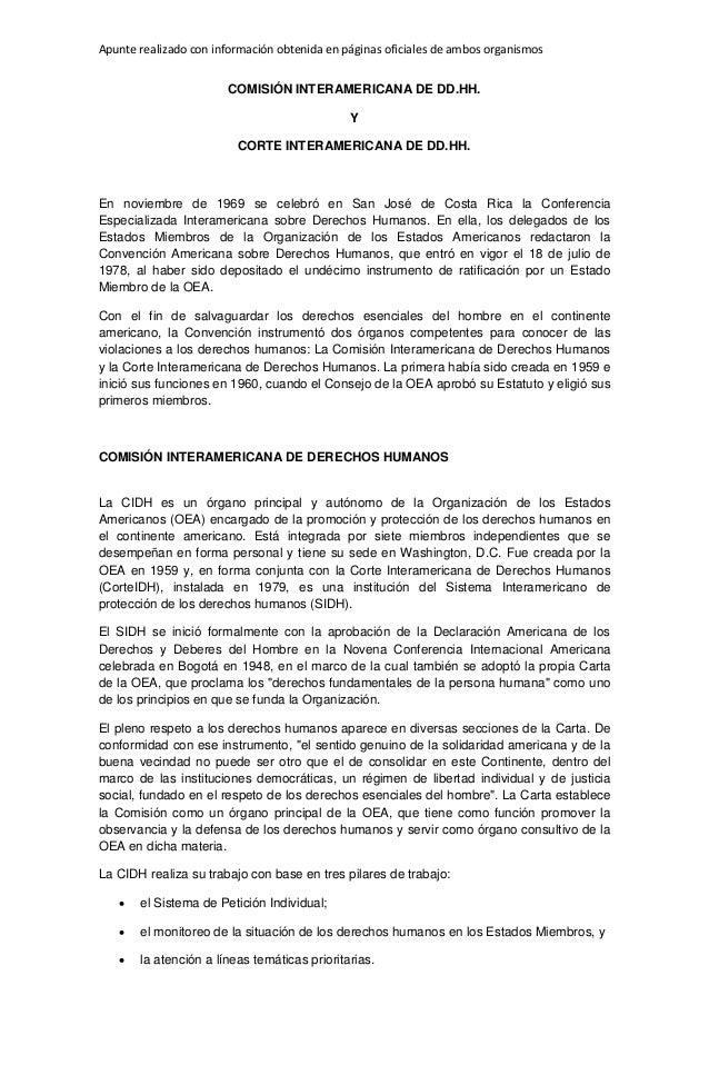 Apunte realizado con información obtenida en páginas oficiales de ambos organismos COMISIÓN INTERAMERICANA DE DD.HH. Y COR...