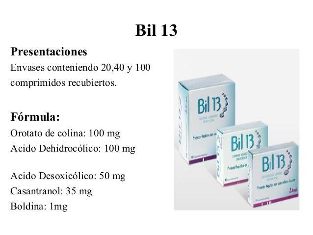 Ácido Ursodesoxicólico Acción: Anticolelito (disolución de cálculos en la vesícula biliar) Farmacocinética: Absorción en 9...