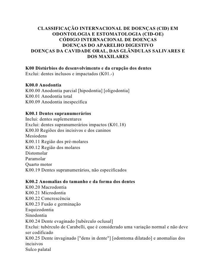 CLASSIFICAÇÃO INTERNACIONAL DE DOENÇAS (CID) EM         ODONTOLOGIA E ESTOMATOLOGIA (CID-OE)           CÓDIGO INTERNACIONA...