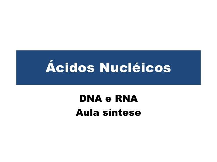 Ácidos Nucléicos<br />DNA e RNA<br />Aula síntese<br />