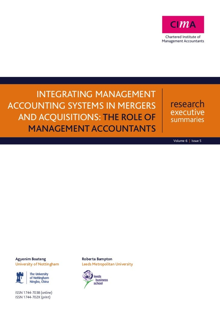 Integrating managementaccounting systems in mergers                              research                                 ...