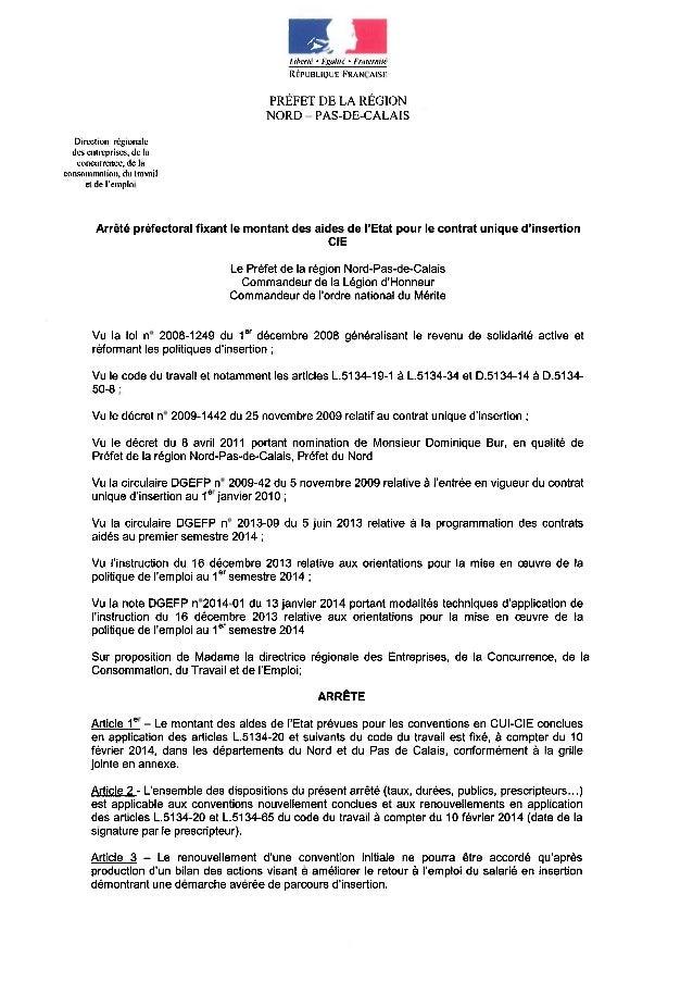 Contrat Initiative Emploi - Taux aide - Arrêté cie 1er semestre 2014
