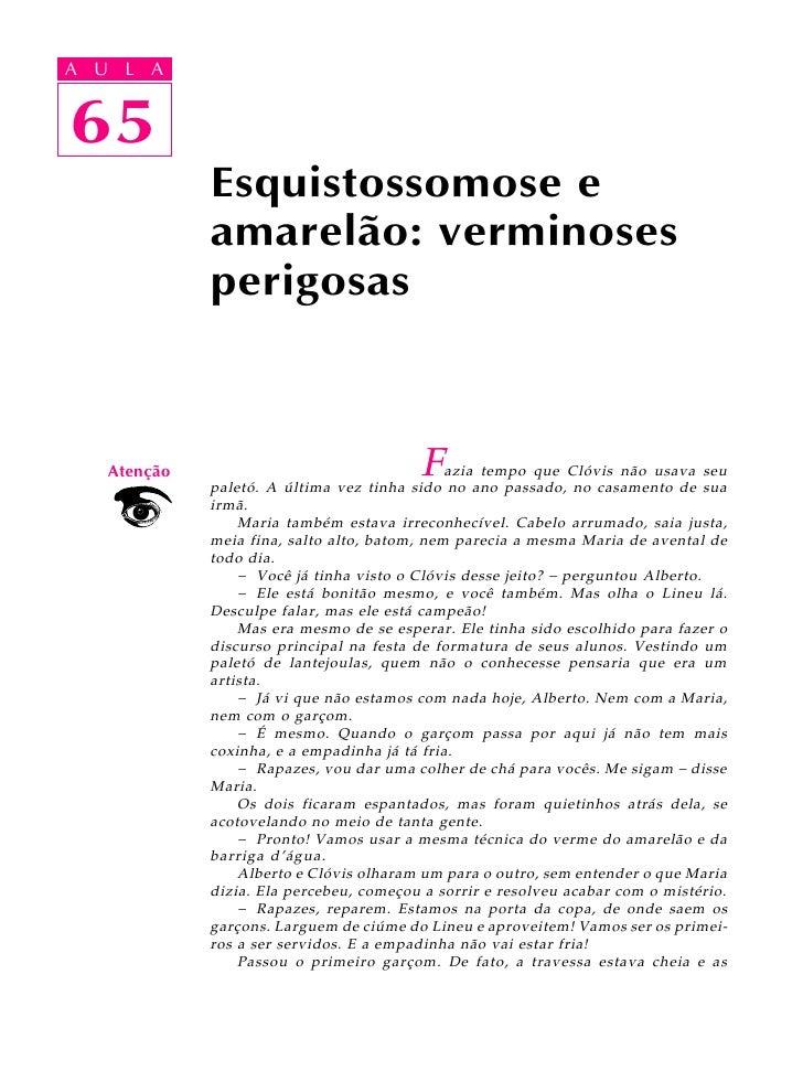 A UA U L A      L A      65 65               Esquistossomose e               amarelão: verminoses               perigosas ...
