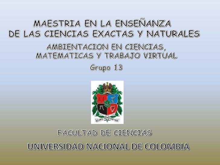 MAESTRIA EN LA ENSEÑANZA <br />DE LAS CIENCIAS EXACTAS Y NATURALES<br />AMBIENTACION EN CIENCIAS,<br />MATEMATICAS Y TRABA...