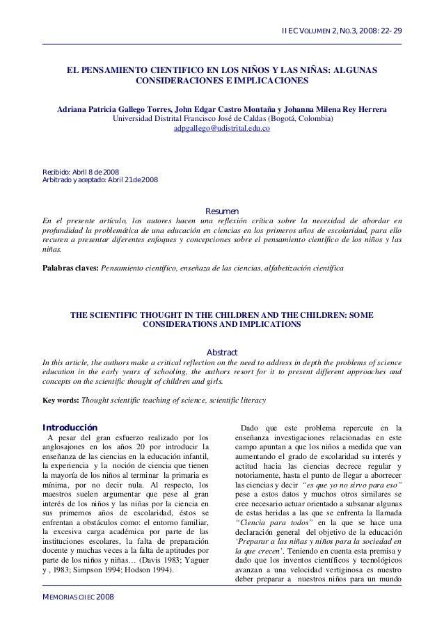 IIEC VOLUMEN 2, NO.3, 2008: 22- 29        EL PENSAMIENTO CIENTIFICO EN LOS NIÑOS Y LAS NIÑAS: ALGUNAS                    C...