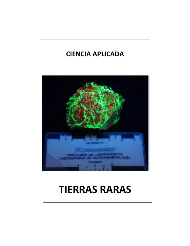 CIENCIA APLICADA TIERRAS RARAS