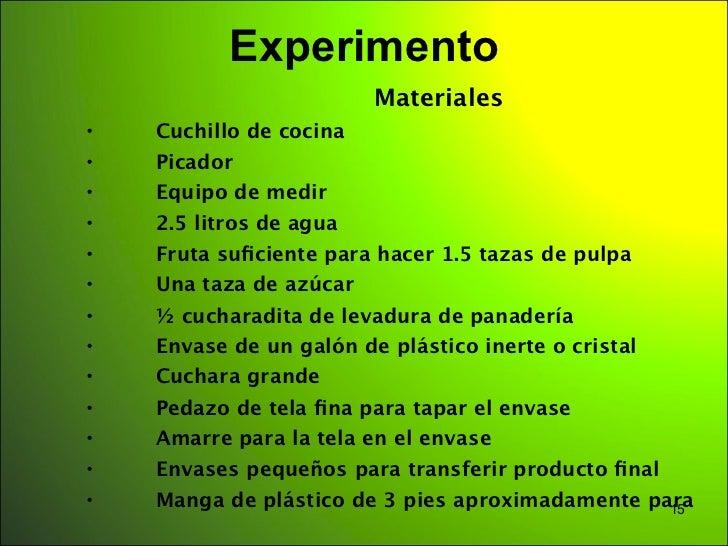 Experimento                             Materiales•      Cuchillo de cocina•      Picador•      Equipo de medir•      2.5 ...