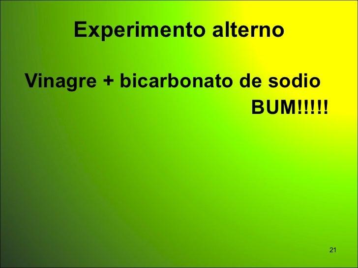 Experimento alternoVinagre + bicarbonato de sodio                       BUM!!!!!                              21