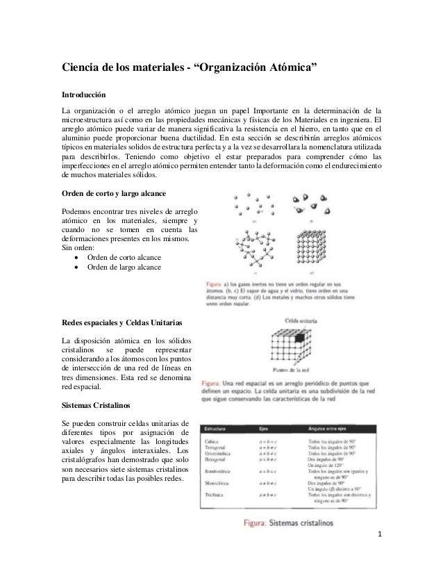 """1 Ciencia de los materiales - """"Organización Atómica"""" Introducción La organización o el arreglo atómico juegan un papel Imp..."""