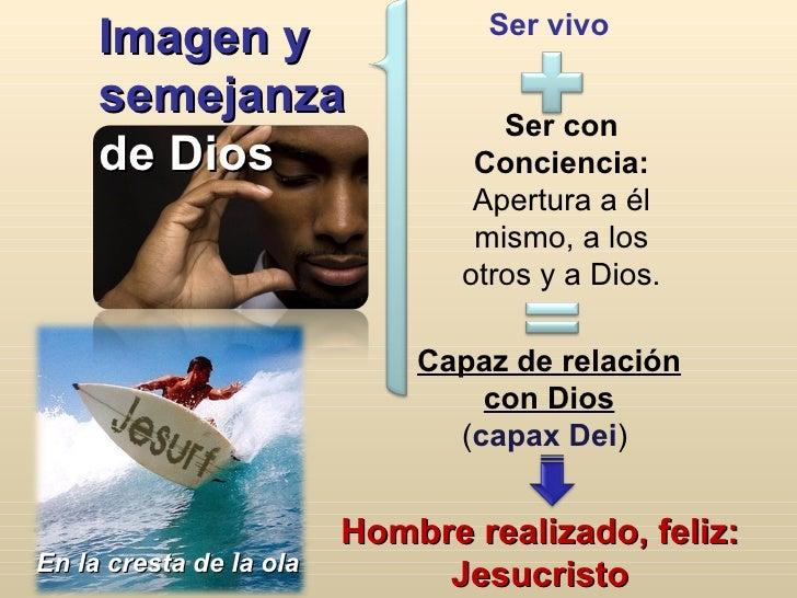 Ser vivo Imagen y semejanza  de Dios Hombre realizado, feliz: Jesucristo En la cresta de la ola Ser con Conciencia: Apertu...