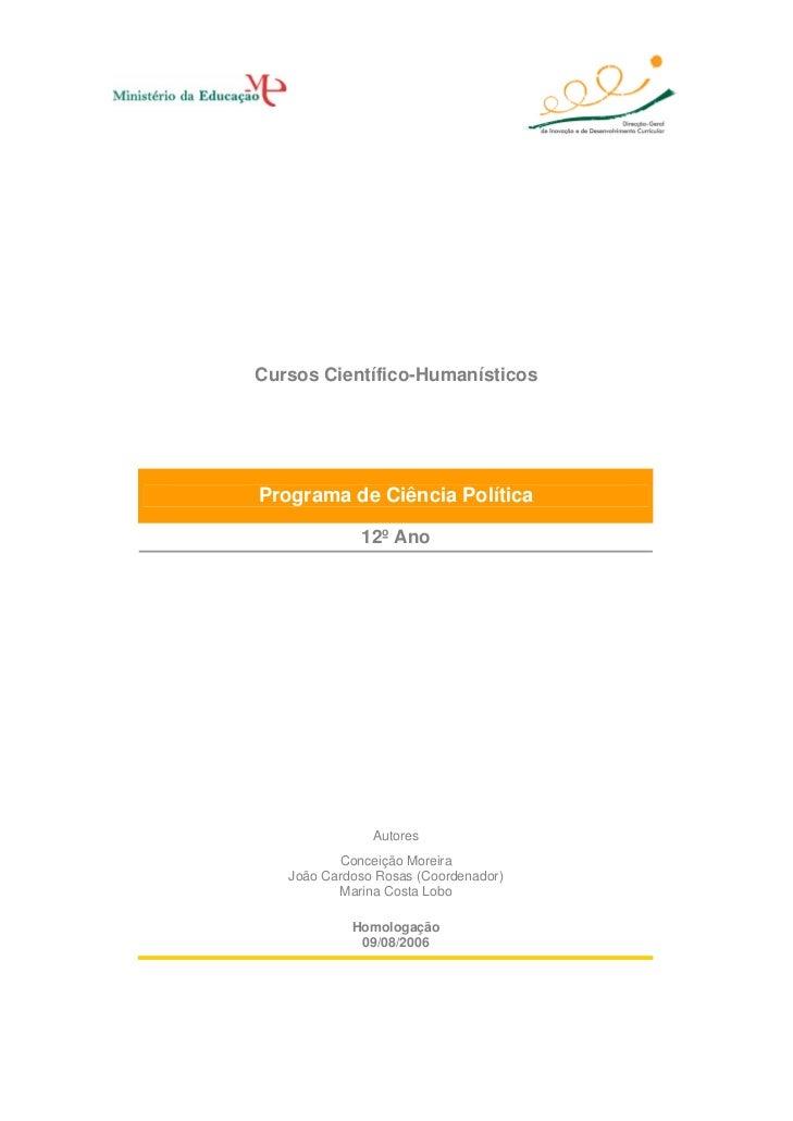Cursos Científico-Humanísticos     Programa de Ciência Política               12º Ano                    Autores          ...
