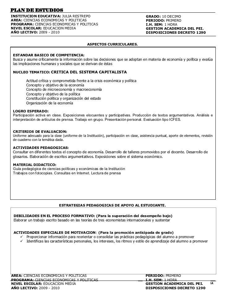 PLAN DE ESTUDIOSINSTITUCION EDUCATIVA: JULIA RESTREPO                                                     GRADO: 10 DECIMO...