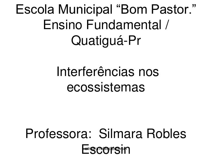 "Escola Municipal ""Bom Pastor.""  Ensino Fundamental / Quatiguá-Pr Interferências nos ecossistemasProfessora:  Silmara Roble..."