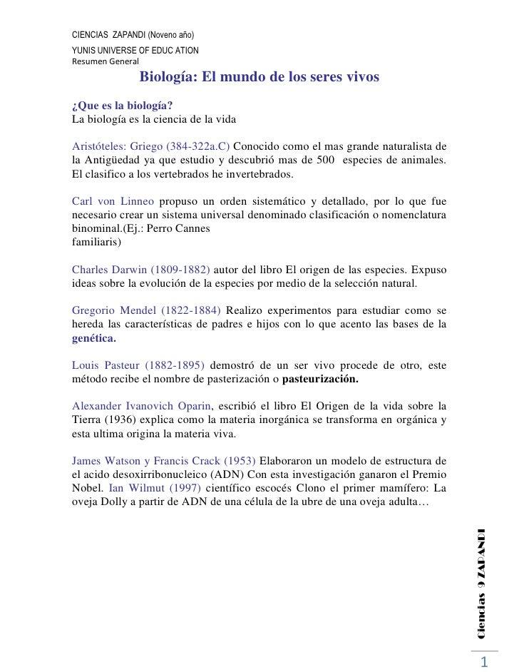CIENCIAS ZAPANDI (Noveno año)YUNIS UNIVERSE OF EDUC ATIONResumen General               Biología: El mundo de los seres viv...
