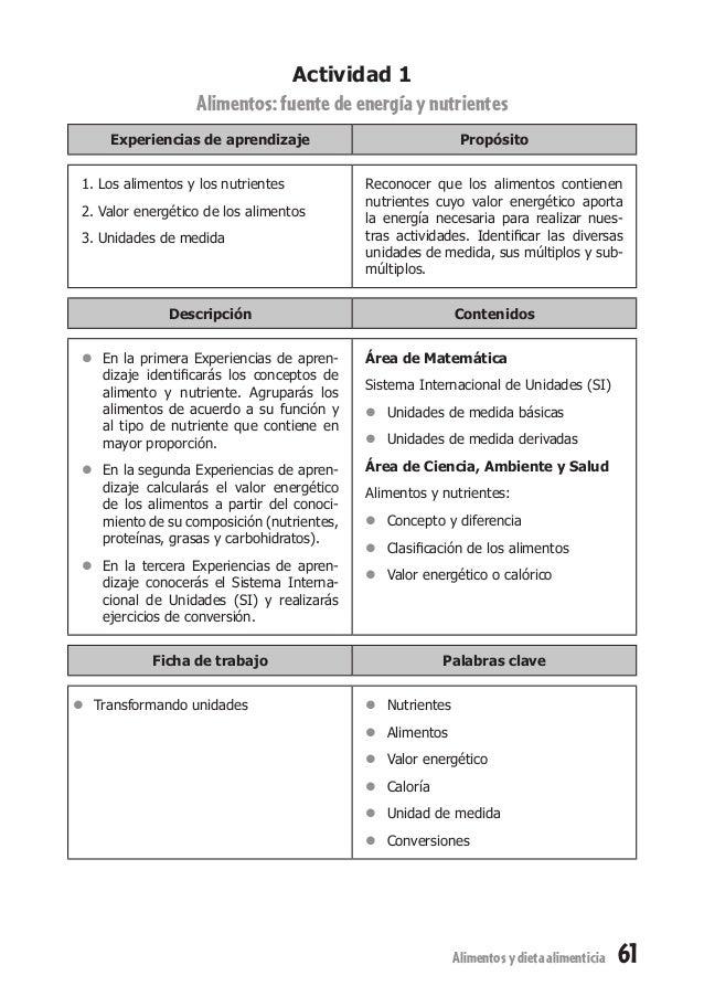 61Alimentosydietaalimenticia Actividad 1 Alimentos:fuentedeenergíaynutrientes Experiencias de aprendizaje Propósito 1. Los...
