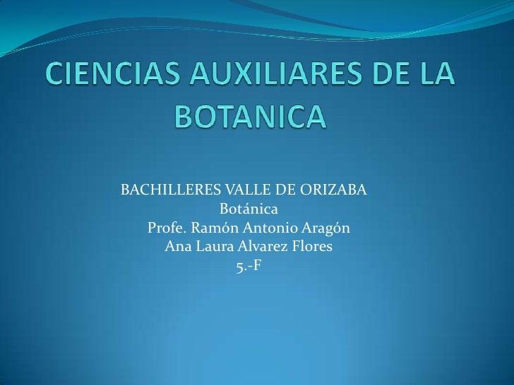 CIENCIAS AUXILIARES DE LA BOTANICA<br />BACHILLERES VALLE DE ORIZABA<br />Botánica<br />Profe. Ramón Antonio Aragón<br />...