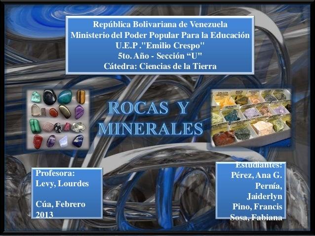 """República Bolivariana de Venezuela        Ministerio del Poder Popular Para la Educación                    U.E.P .""""Emilio..."""