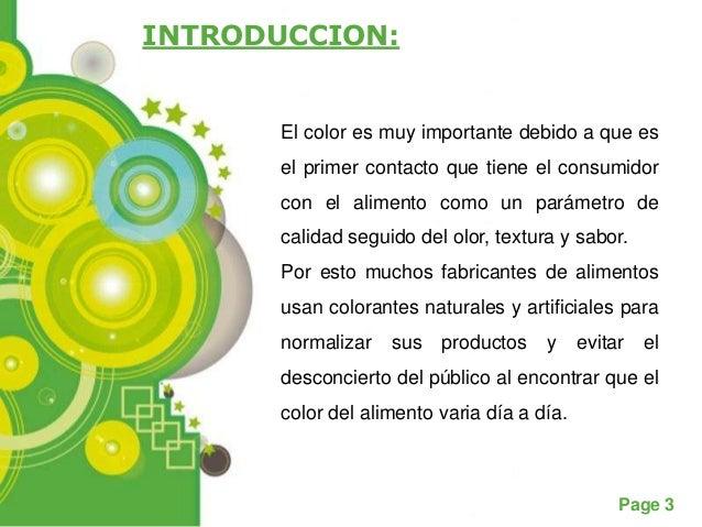 INTRODUCCION:      El color es muy importante debido a que es      el primer contacto que tiene el consumidor      con el ...