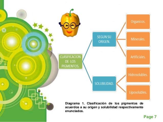Diagrama 1. Clasificación de los pigmentos deacuerdos a su origen y solubilidad respectivamenteenunciados.                ...