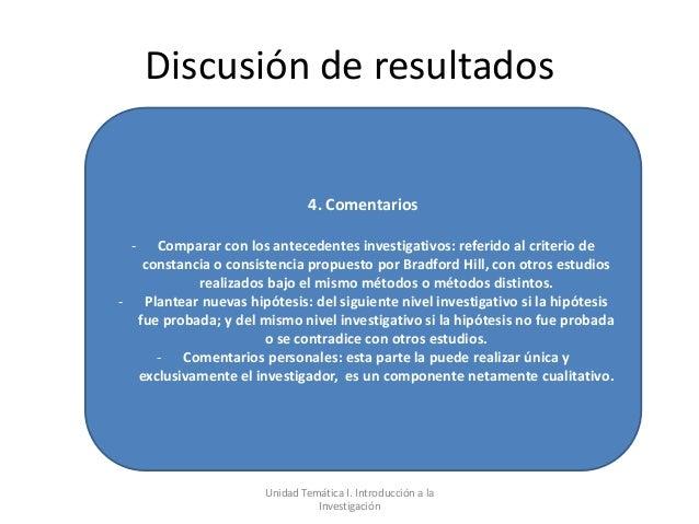 Discusión de resultados                                4. Comentarios  -  Comparar con los antecedentes investigativos: re...