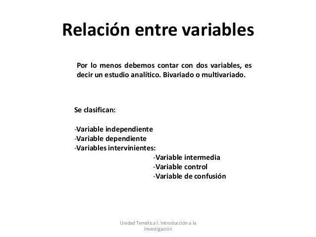 Relación entre variables Por lo menos debemos contar con dos variables, es decir un estudio analítico. Bivariado o multiva...