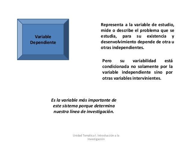 Representa a la variable de estudio,                                        mide o describe el problema que se  Variable  ...