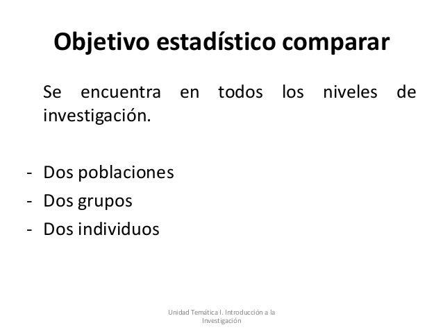Objetivo estadístico comparar Se encuentra en todos los niveles de investigación.- Dos poblaciones- Dos grupos- Dos indivi...