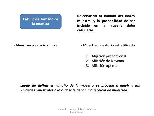 Relacionado al tamaño del marco     Cálculo del tamaño de                     muestral y la probabilidad de ser           ...