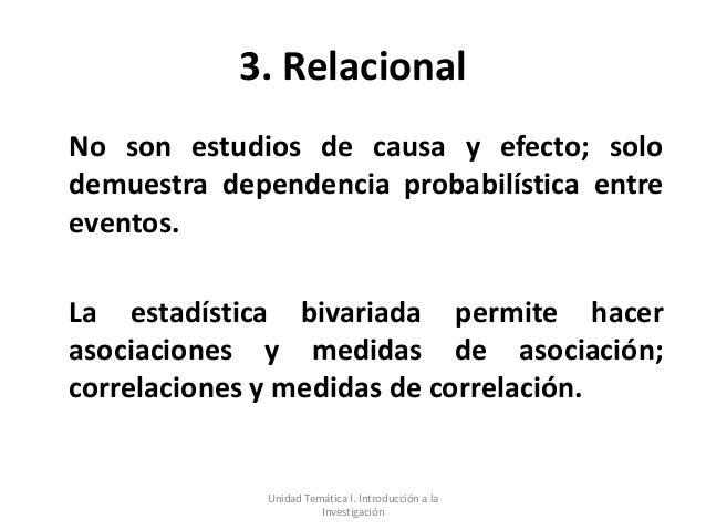 3. RelacionalNo son estudios de causa y efecto; solodemuestra dependencia probabilística entreeventos.La estadística bivar...