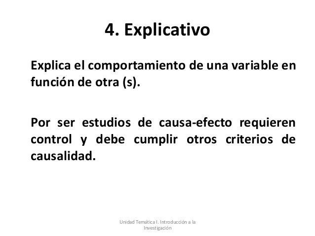 4. ExplicativoExplica el comportamiento de una variable enfunción de otra (s).Por ser estudios de causa-efecto requierenco...