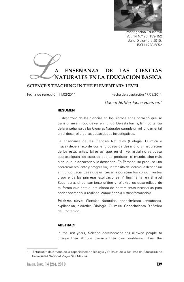 139Invest. Educ. 14 (26), 2010 LA ENSEÑANZA DE LAS CIENCIAS NATURALES EN LA EDUCACIÓN BÁSICA SCIENCE'S TEACHING IN THE ELE...