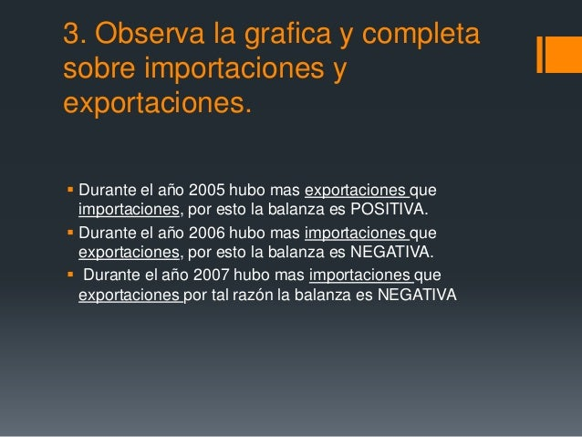 3. Observa la grafica y completasobre importaciones yexportaciones. Durante el año 2005 hubo mas exportaciones que  impor...