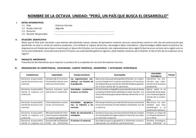 """NOMBRE DE LA OCTAVA UNIDAD: """"PERÚ, UN PAÍS QUE BUSCA EL DESARROLLO"""" I. DATOS INFORMATIVOS 1.1. Área : Ciencias Sociales 1...."""