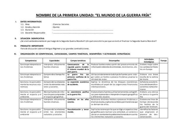 """NOMBRE DE LA PRIMERA UNIDAD: """"EL MUNDO DE LA GUERRA FRÍA"""" I. DATOS INFORMATIVOS 1.1. Área : Ciencias Sociales 1.2. Grado y..."""