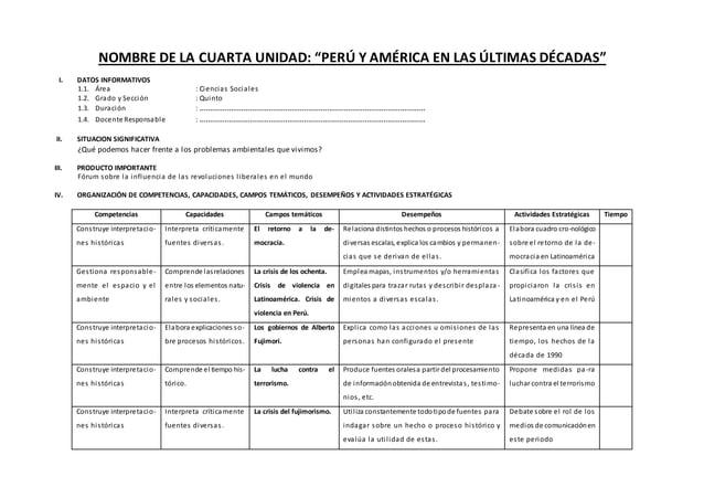 """NOMBRE DE LA CUARTA UNIDAD: """"PERÚ Y AMÉRICA EN LAS ÚLTIMAS DÉCADAS"""" I. DATOS INFORMATIVOS 1.1. Área : Ciencias Sociales 1...."""